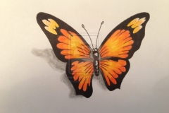 3D-Black-and-orange-butterfly-Tattoo-Design