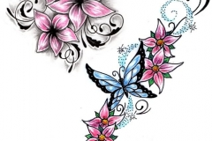Floral-With-Butterfly-Tattoo-Design