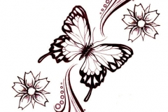 Flowers-And-Butterfly-Tattoo-Design-Idea