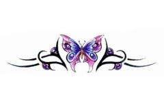 simple-pink-butterfly-with-tribal-design-tattoo