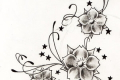 stars-and-grey-flowers-tattoos-design