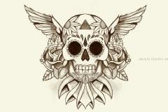 Sugar-Skull-With-Wings-And-Flowers-Tattoo-Design