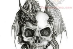 dragon-on-skull-tattoo-design