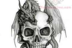 dragon-on-skull-tattoo-design