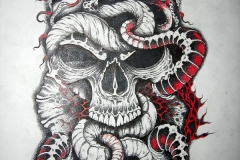 snakes-and-skull-tattoo-design