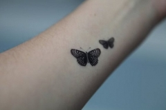 two-small-detailed-butterfly-tattoos-on-arm